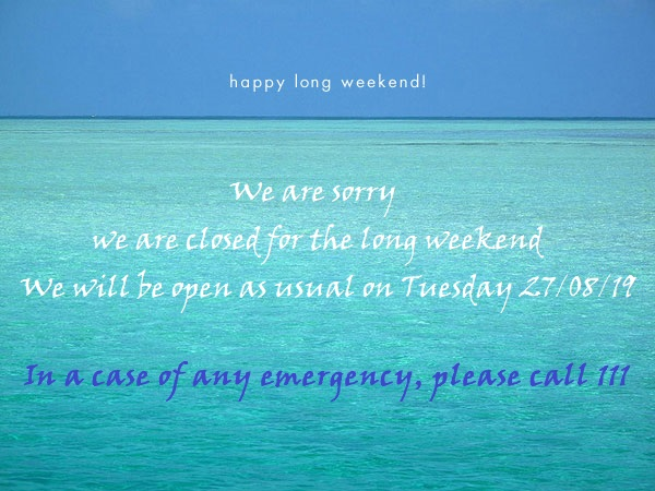 We are sorry! We are closed for the long weekend.